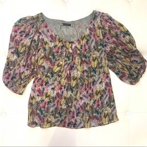 LEIFSDOTTIR Feather Pattern Blouse Sz 0